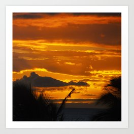 Blazing Sunset Over Maui, Hawaii Art Print