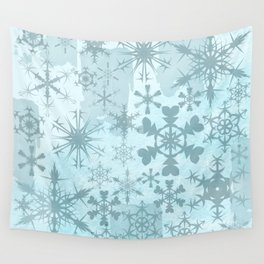 Soft blue faded snowflakes pattern Wall Tapestry