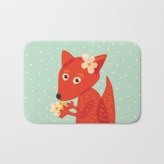 Cute Fox And Flowers Bath Mat