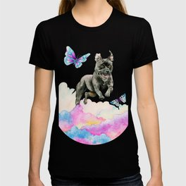 Leap! | Pit Bull Dog, Rainbow Clouds, and Butterflies T-shirt