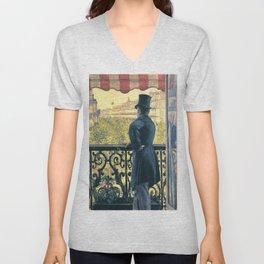 "Gustave Caillebotte ""Man on a Balcony, Boulevard Haussmann"" Unisex V-Neck"