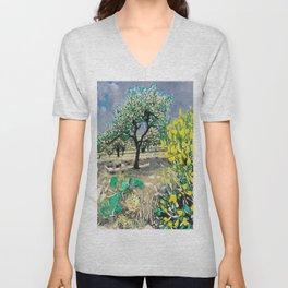 Olive Tree & Gorse Bush Unisex V-Neck