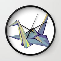 origami Wall Clocks featuring Origami by Daniela Castillo