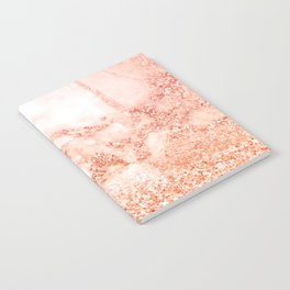 Sparkly Peach Copper Rose Gold Ombre Bohemian Marble Notebook