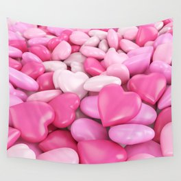 Pink hearts Wall Tapestry