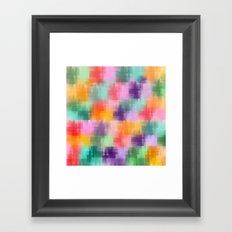 Geometric patterns in rainbow water colors Framed Art Print