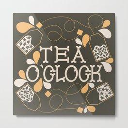 Tea O'Clock- Yellow and Khaki Green Metal Print