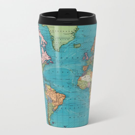 Vintage Map of The World (1897) Metal Travel Mug
