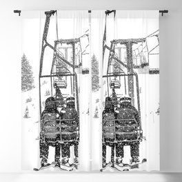 Snow Lift // Ski Chair Lift Colorado Mountains Black and White Snowboarding Vibes Photography Blackout Curtain