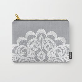 Floral Lace White Grey Pastel Colors Carry-All Pouch