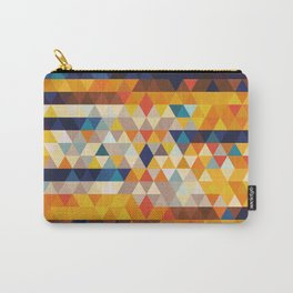 Geometric Triangle - Ethnic Inspired Pattern - Orange, Blue Carry-All Pouch