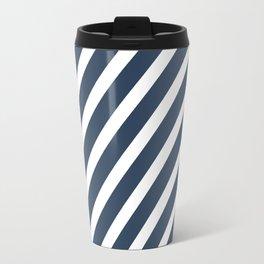 Navy Blue Diagonal Stripes Travel Mug