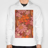 50s Hoodies featuring Crazy pinks 50s Flower  by Follow The White Rabbit