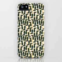 Hunter Green Wellington Welly Boots with Buttercup Flowers on Butter Yellow Streaky Stripes iPhone Case