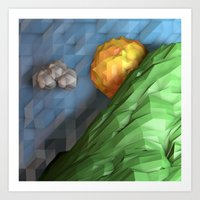 low poly Art Prints featuring Low Poly Sunset by cnrgrn