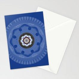 Blue Pulse Meditation Flower Mandala Stationery Cards