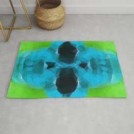 psychedelic skull art geometric triangle abstract pattern in blue and green Rug