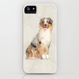 Australian Shepherd - Blue Merle Watercolor Digital Art iPhone Case