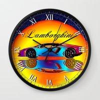 lamborghini Wall Clocks featuring Lamborghini Aventador by JT Digital Art