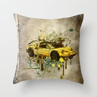 ferrari Throw Pillows featuring Ferrari by Svetlana Sewell
