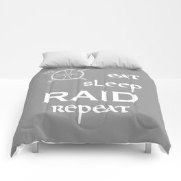 eat-sleep-RAID-repeat white, Vikings Comforters