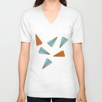 planes V-neck T-shirts featuring Paper Planes by evannave