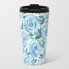 Pale blue roses . Watercolor . Travel Mug