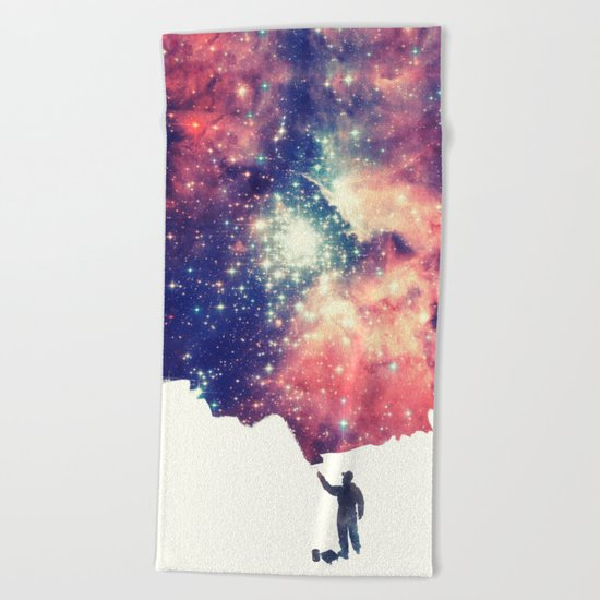 Painting the universe Beach Towel