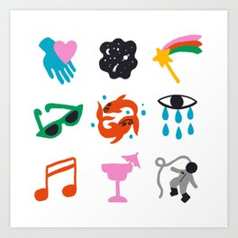 Pisces Emoji Art Print