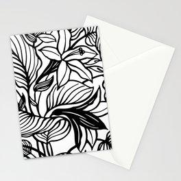 White Black Floral Minimalist Stationery Cards