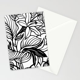 White And Black Floral Minimalist Stationery Cards