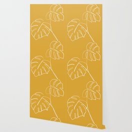 Monstera minimal - yellow Wallpaper
