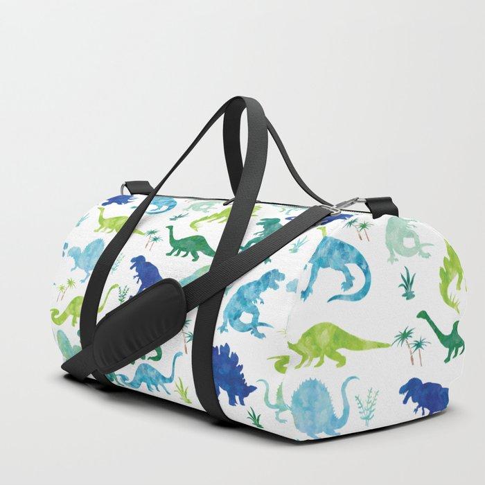 Watercolor Dinosaur Pattern White Green Blue Duffle Bag