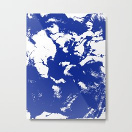 Marble blue 2 Suminagashi watercolor pattern art pisces water wave ocean minimal design Metal Print