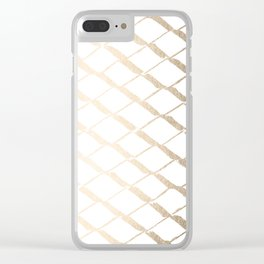 Luxe Gold Diamond Lattice Pattern on White Clear iPhone Case