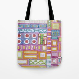 Filled Pink Grid Tote Bag