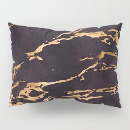 Black Suede Marble With Romantic 24-Karat Gold Veins Pillow Sham