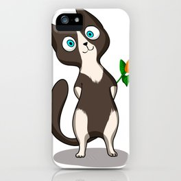 Tuxedo cat with flower iPhone Case