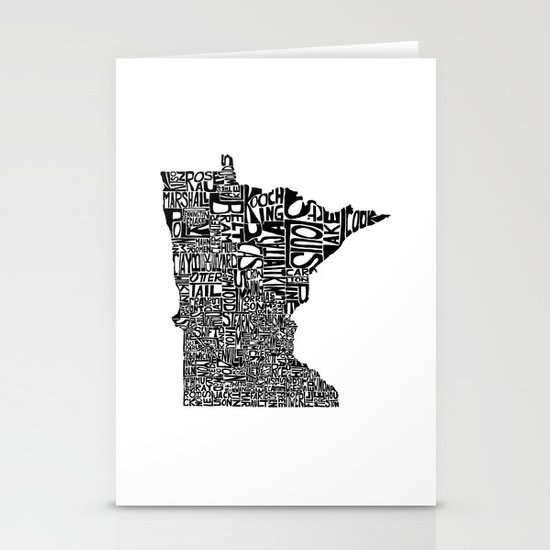 Typographic Minnesota Stationery Cards