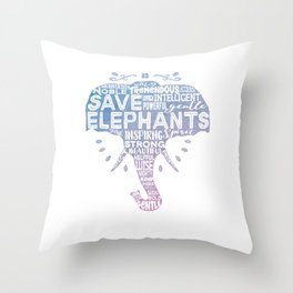 Save Elephants - Watercolor Word Cloud Elephant Silhouette Throw Pillow