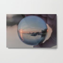 Annisquam sunset though a Crystal Ball Metal Print