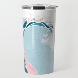 Surf X // Cali Beach Summer Surfing Rip Curl Gold Pink Aqua Abstract Ocean Wave Travel Mug