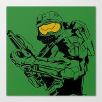 master chief Canvas Prints featuring Halo Master Chief by Ashley Rhodes