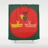 dogs Shower Curtains featuring dogs by ValoValo