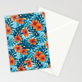 Tropical Hibiscus Pattern Orange Stationery Cards