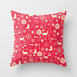 White Objects Christmas Pattern Throw Pillow