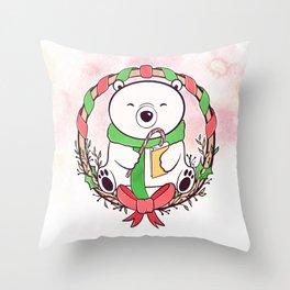 POLAR BEAR READS Throw Pillow