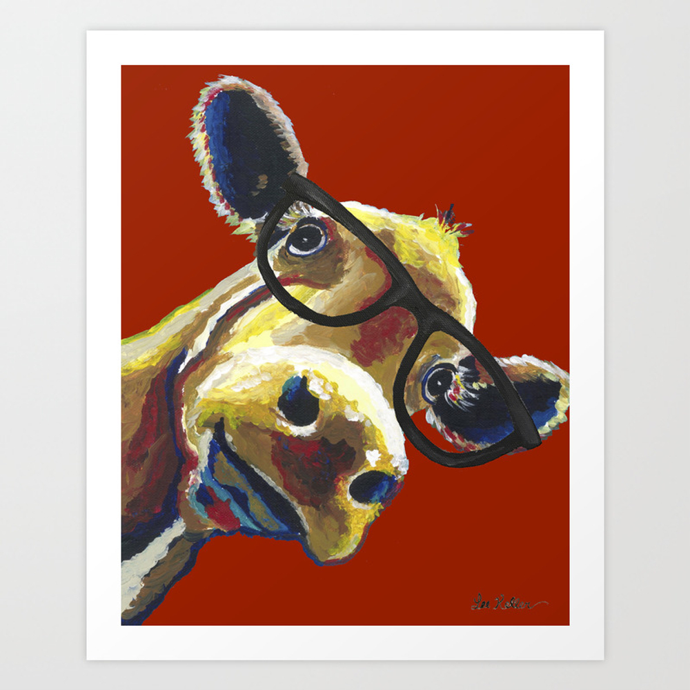 Red Cow Glasses, Cute Cow With Glasses Art Print by Leekeller PRN8994311