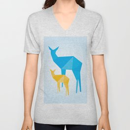 Geometric Deer and Fawn Unisex V-Neck