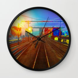 The Past Train 2 Square Wall Clock